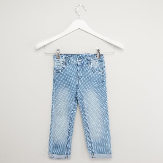 بنطلون جينز بطبعات منقطة وجيوب