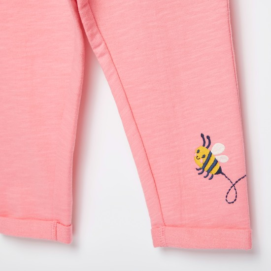 Embroidered Pants with Elasticised Waistband and Bow Applique