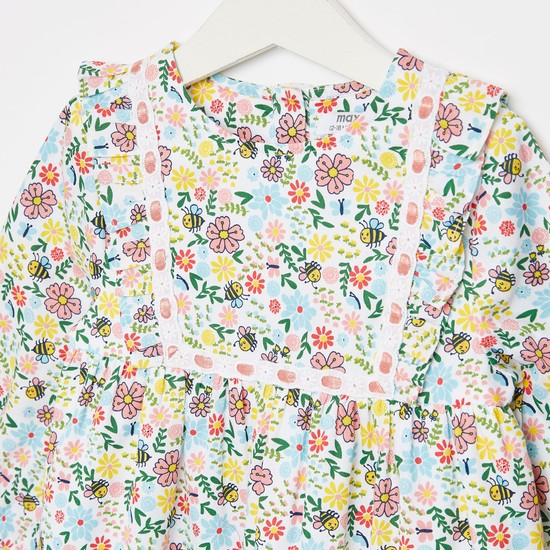 Floral Print Dress with Ruffle Detail and Long Sleeves