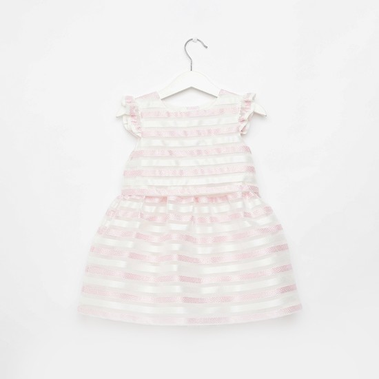 Jacquard Striped Dress with Round Neck and Ruffle Detail