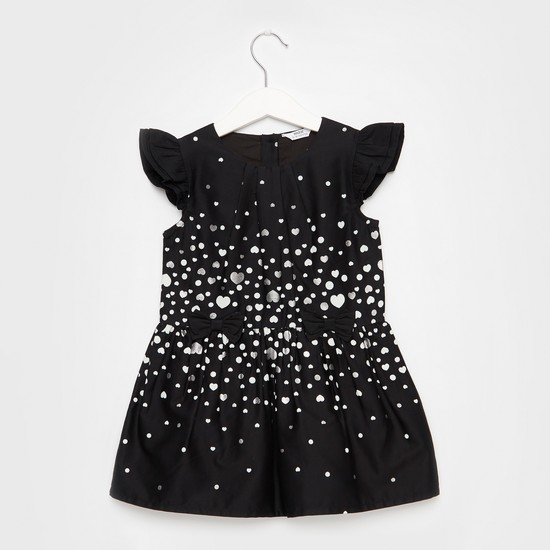 فستان بياقة مستديرة وأكمام كاب وطبعات رقائق معدنية