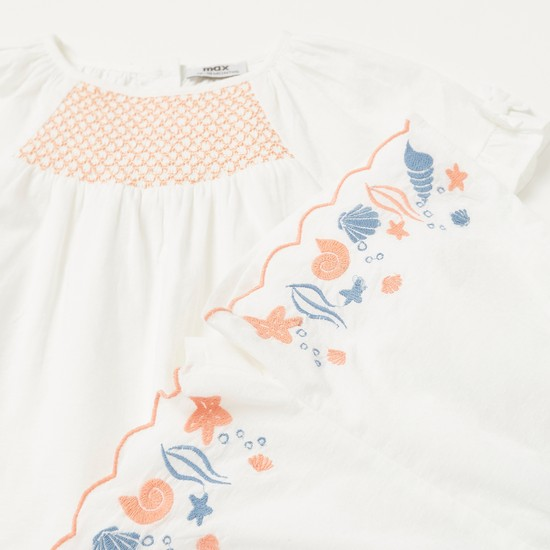 Coastal Embroidered Detail Top with Pocket Detail Shorts