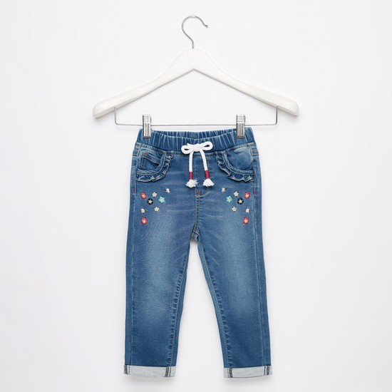 Full Length Embroidered Jeans with Drawstring Closure