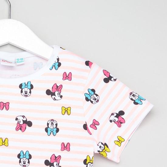 Minnie Mouse Print Round Neck T-shirt and Jog Pants Set