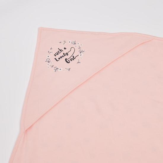 بطانية قطن عضوي جوتس بطبعات زهرية مع قبّعة - 80x80 سم