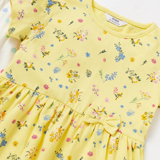 Pack of 2 - Printed Dress with Cap Sleeves and Bow Applique