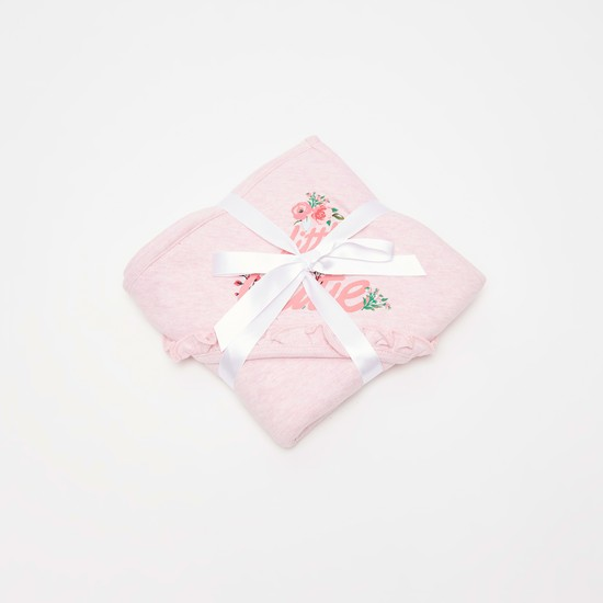 بطانية بقبعة وطبعات أزهار