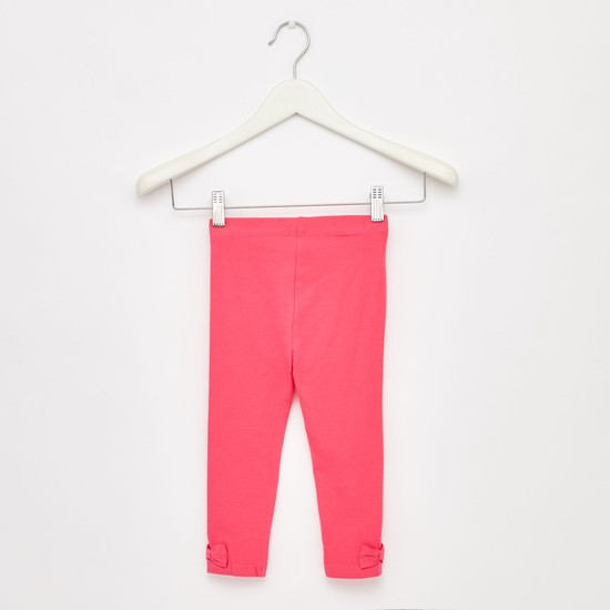Solid Full Length Leggings with Elasticised Waist and Bow Applique