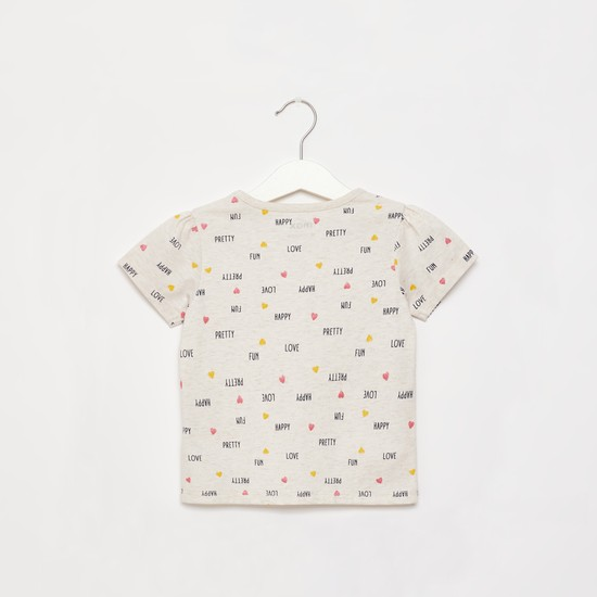 All-Over Text Print T-shirt with Round Neck and Cap Sleeves