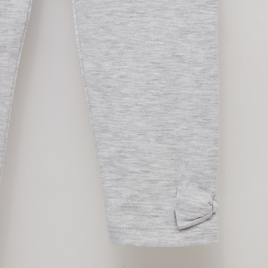 Solid Leggings with Bow Accent and Elasticised Waistband