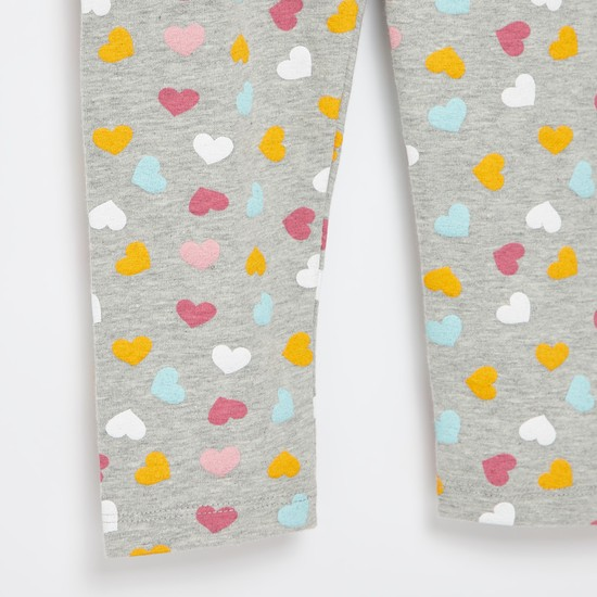 All-Over Heart Print Full Length Leggings with Elasticised Waistband