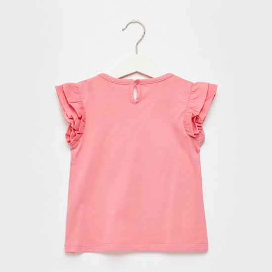 Unicorn Print Round Neck T-shirt with Frill Cap Sleeves