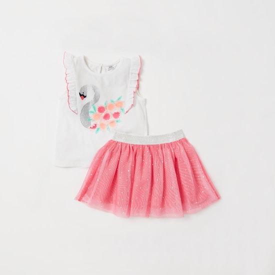 Flamingo Print Floral Applique Top and Embellished Mini Skirt Set
