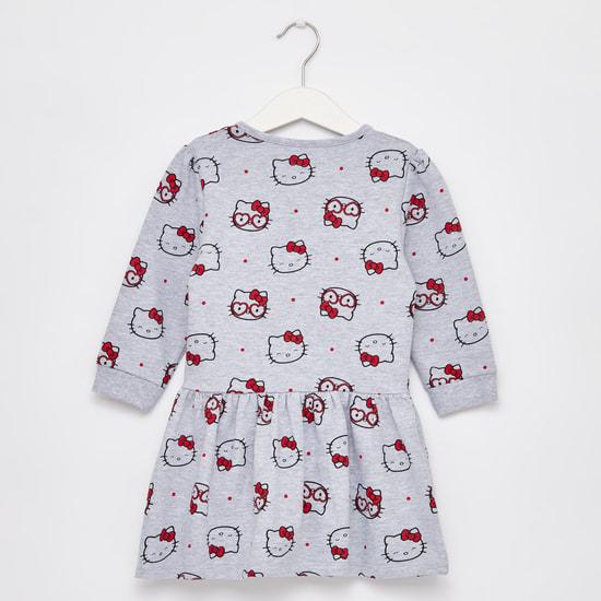 فستان بطبعات هالو كيتي وأكمام طويلة
