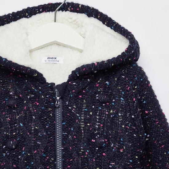 Textured Sweater Hoodie with Front Zip Closure