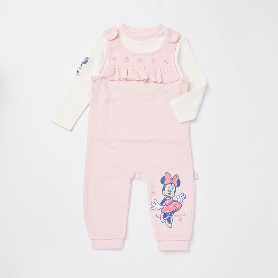 Minnie Mouse Embroidered Dungarees and Long Sleeves T-shirt Set