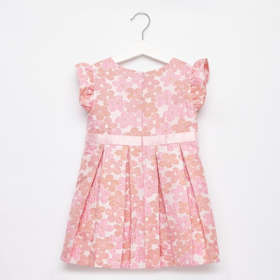 Floral Print Pleated Sleeveless Dress with Round Neck