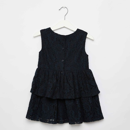 Floral Applique Detail Lace Dress with Round Neck and Button Closure
