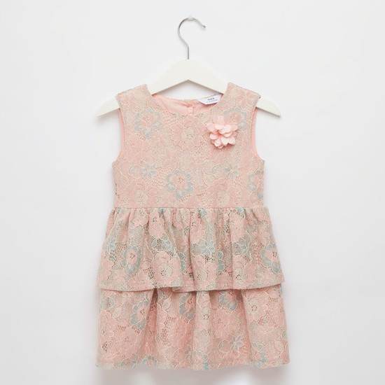 Lace Detail Sleeveless Dress with Round Neck and Flower Applique Detail