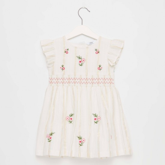 Floral Embroidery Dress with Smocking Detail and Cap Sleeves