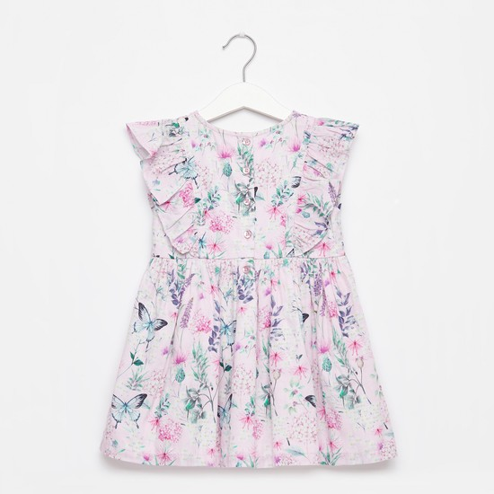 Printed Dress with Ruffle Detail and Cap Sleeves
