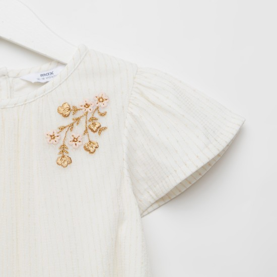 Embroidered Detail Mesh Dress with Round Neck and Cap Sleeves