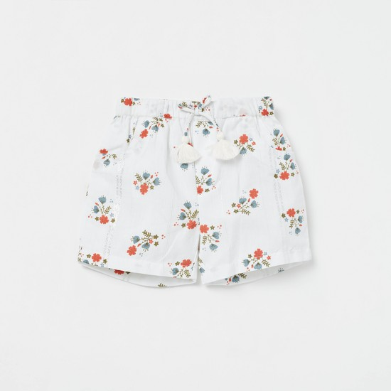 Floral Print Top with Pocket Detail Shorts