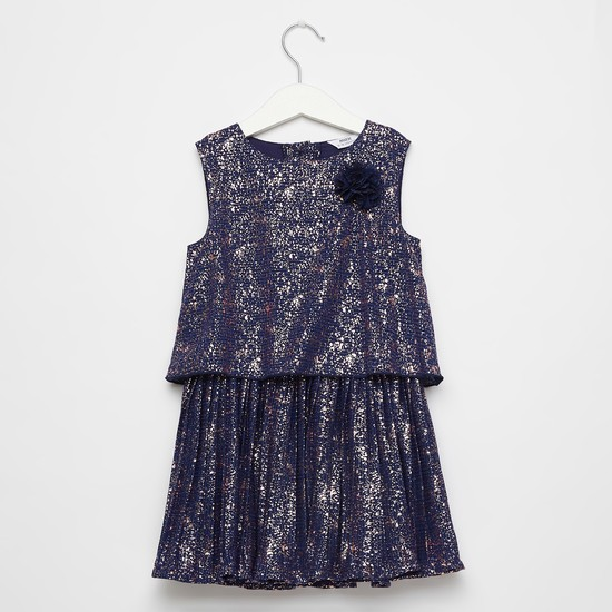 Foil Print Sleeveless Dress with Round Neck and Flower Applique Detail