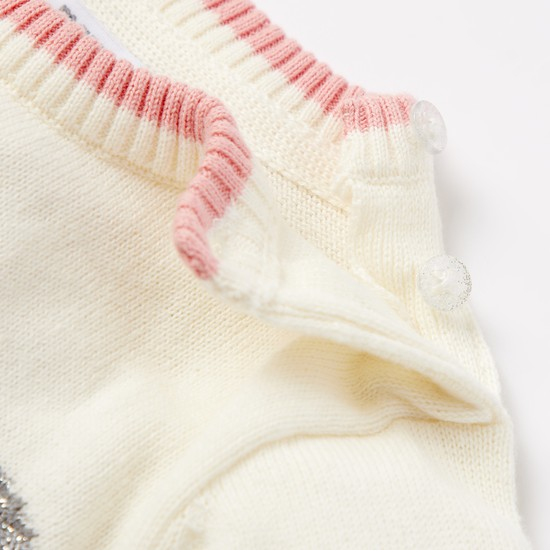 طقم فستان كنزة وجوارب بطبعات وجه باندا