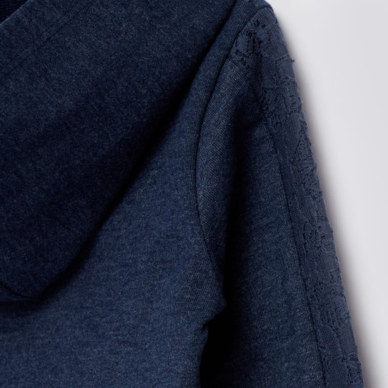 Textured Zip Front Jacket with Long Sleeves and Hood