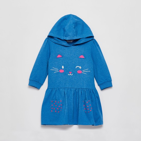 Cat Face Embroidered Knee Length Dress with Long Sleeves and Hood