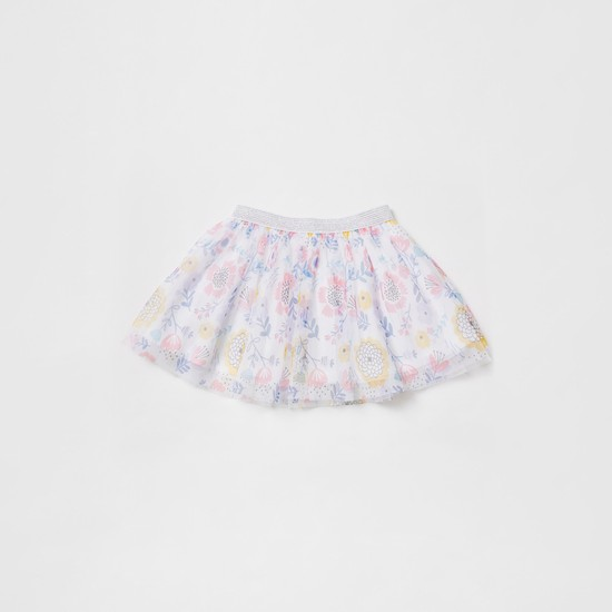 Flower Applique Detail T-shirt and Floral Print Tutu Skirt Set