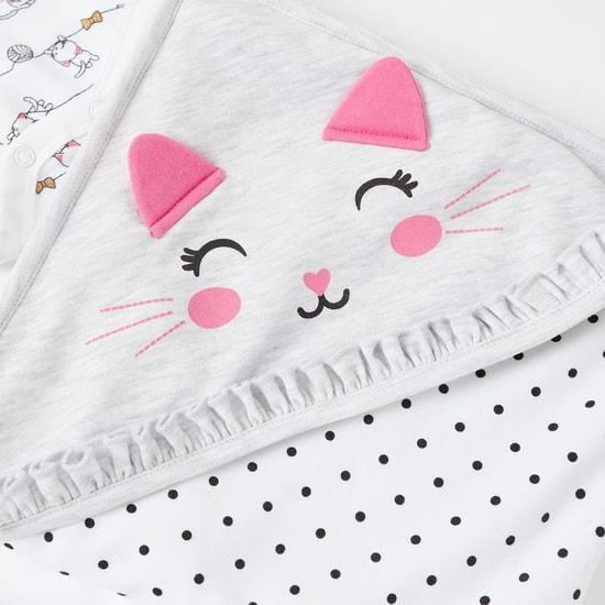 طقم ملابس بطبعات جرافيك قطة- من 6 قطع