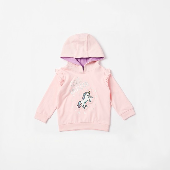 Unicorn Graphic Print Hoodie and Frill Detail Jog Pants Set