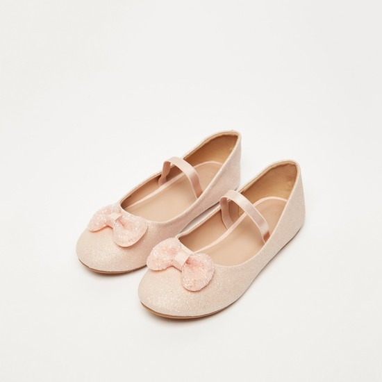 Textured Ballerinas with Bow Applique and Elasticised Strap