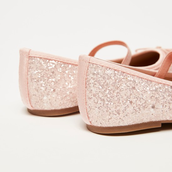 Glitter Textured Ballerina Shoes with Bow Accent