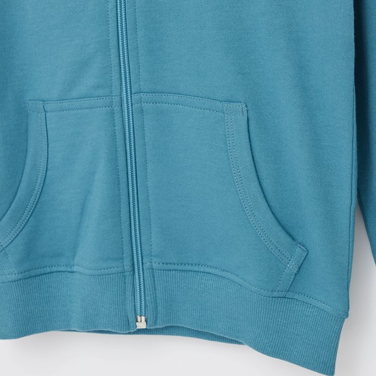 Solid Zip Front Anti-Pilling Jacket with Long Sleeves and Hood