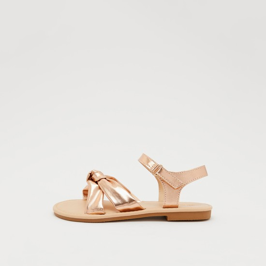 Knot Detail Sandals with Hook and Loop Closure