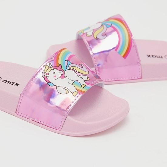 Unicorn Print Open Toe Slides
