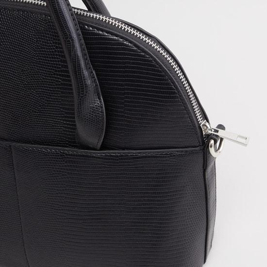 Textured Handbag with Twin Handles and Zip Closure
