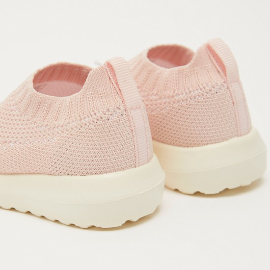 Textured Walking Shoes with Pull Tab and Elasticised Hem