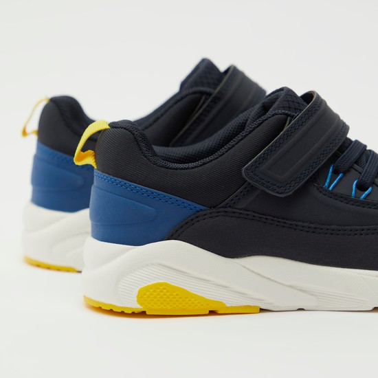 Solid Lace-Up Sports Shoes with Hook and Loop Closure