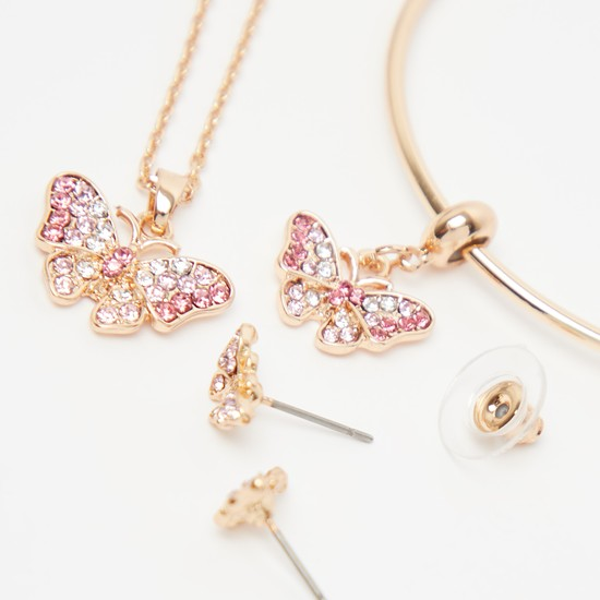 3-Piece Crystal Embellished Butterfly Accent Jewellery Set