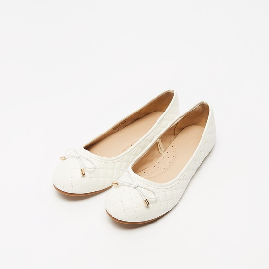 Quilted Slip-On Ballerinas with Bow Applique Detail