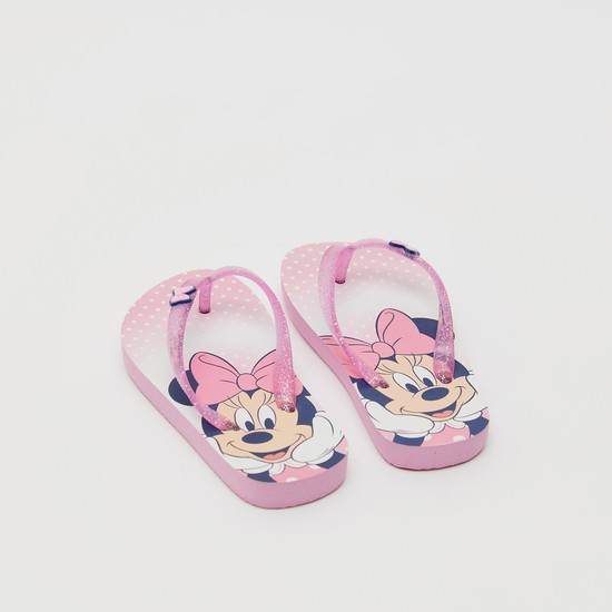 Minnie Mouse Print Flip Flops with Bow Accent