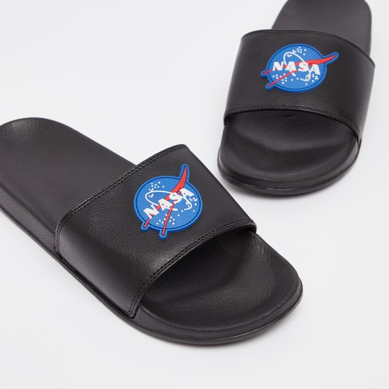 Textured Slip On Slippers with NASA Applique