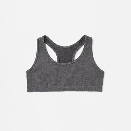 صدرية رياضية دون خياطة بظهر متقاطع من الخلف وشريطة مطاطية - طقم من قطعتين