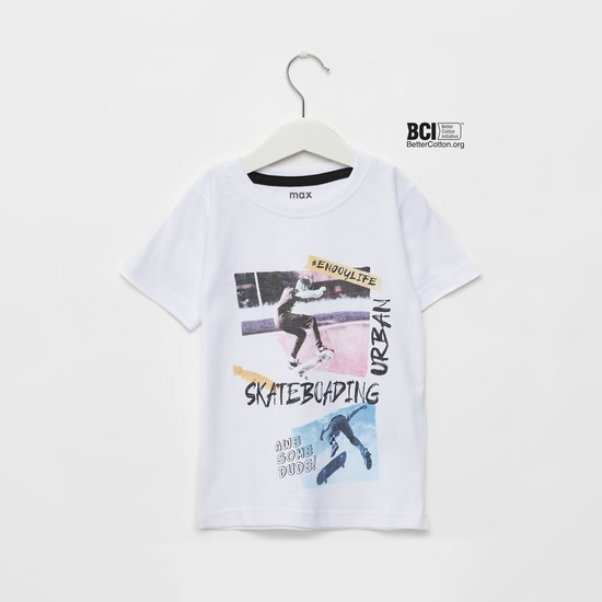 Skate Print T-shirt with Round Neck and Short Sleeves