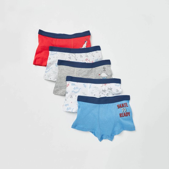 Set of 5 - Printed Trunks with Elasticated Waistband