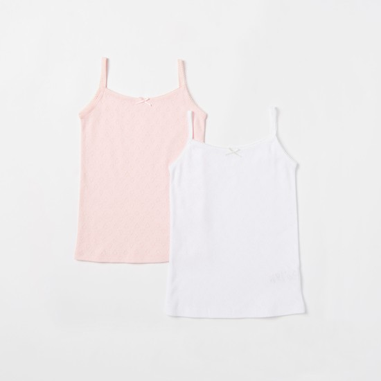 Pack of 2 - Jacquard Sleeveless Camisole with Lace Detail